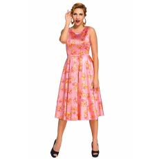 Rózsaszín virágos,pántos ruha
