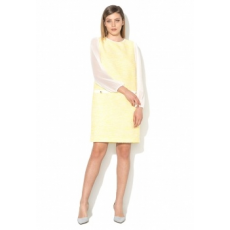 NISSA Woman Melange Yellow Dress With Sheer Sleeves (RZ8605-YELLOW-44)