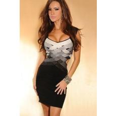 Fekete-szürke waved sexy ruha
