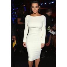 Fehér hosszúujjú midi ruha