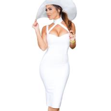 Fehér kivágott elegáns ruha