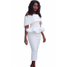Fehér váll nélküli peplum ruha