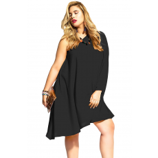 Fekete asszimetrikus félvállas ruha