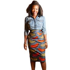 Afrikai mintás midi szoknya