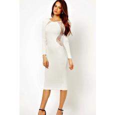 Fehér midi ruha oldalt és hátul csipkés