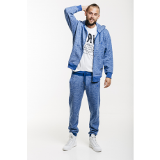 Dorko Basic Sweat Hoody Blue Marl férfi kapucnis cipzáras pulóver kék L