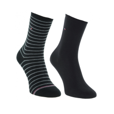 Tommy Hilfiger Th Women Small Stripe 2p női magasszárú zokni fekete 39-42