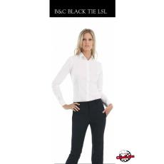 Fehér női hosszú ujjú blúz - B&C sztreccs puplin
