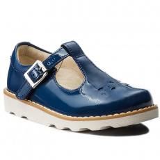 Clarks Félcipő CLARKS - Crown Wish Inf 261269956 Blue Patent Leather