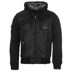 No Fear Lined férfi kapucnis cipzáras kabát fekete S