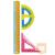 KeyRoad Vonalzó készlet 3db-os egyenes,45 fokos,180 fokos, színes KEYROAD