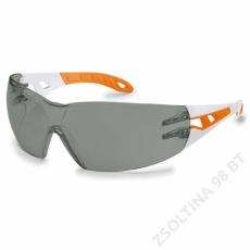Uvex PHEOS S szemüveg, fehér/narancs szár, füst színű lencse