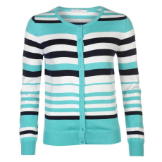 Full Circle Stripe női gombos kardigán türkiz XL