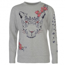 Golddigga női pulóver - szürke tigris mintás - Golddigga Embroidered Crew Sweater Ladies