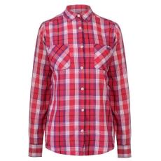 Lee Cooper női ing - pink/fehér - Lee Cooper Long Sleeve Check Shirt Ladies