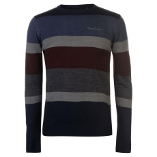 Pierre Cardin Large Stripe férfi pulóver, kék - Pierre Cardin Large Stripe Knitted Jumper