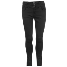 Full Circle női farmer - Full Circle 3 Button High Waisted Jeans - fekete
