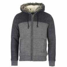 Lee Cooper férfi pulóver, Szürke/Sötétkék - Lee Cooper Mens Fur Trim Knit Méret: S