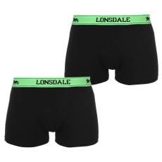 Lonsdale férfi boxeralsó 2db/csomag, Fekete/ Zöld - Lonsdale 2 Pack Trunk Mens