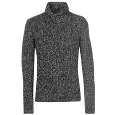 SoulCal Férfi pulóver, fekete - SoulCal Shawl Neck Jumper Mens