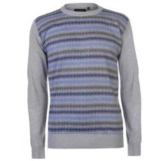 Pierre Cardin férfi pulóver, szürke/kék/szén - Pierre Cardin Geo Knit Jumper Mens