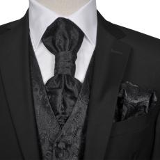 vidaXL Férfi Praisley esküvői mellény szett méret 54 fekete