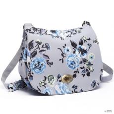 Miss Lulu London E6640-17F - Miss Lulumattte Oilcloth Flower Print Saddle táska szürke