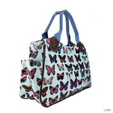 Miss Lulu London L1105B - Miss Lulu Oilcloth bevásárló táska táska pillangó világos kék