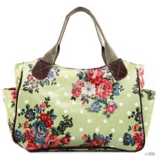Miss Lulu London L1105F - Miss Lulu Oilcloth bevásárló táska táska Flower Polka Dot zöld