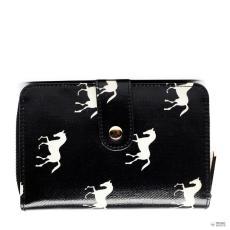 Miss Lulu London L1580H - Miss Lulu kicsi Oilcloth pénztárca ló fekete