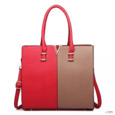 Barna Miss Lulu London LT1666 - Miss Lulu osztott Front Design Medium bevásárló táska kézi táska piros és barna