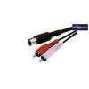 5 pólosú DIN csatlakozó - 2RCA dugó kábel 1,2m