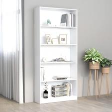 5-szintes fehér forgácslap könyvszekrény 80 x 24 x 175 cm bútor
