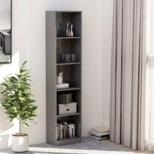 5-szintes magasfényű szürke könyvszekrény 40 x 24 x 175 cm bútor