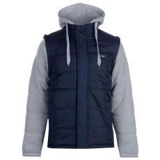 Lee Cooper Férfi Kabát-Lee Cooper Mixed Fabric Padded Jacket,Navy,Grey