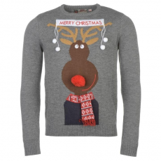 Star karácsonyi férfi pulóver - Star 3D Xmas Knitted Jumper Mens Charc Rudolph