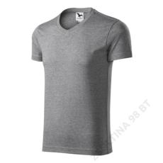 ADLER Slim Fit V-neck ADLER pólók férfi, sötétszürke melírozott