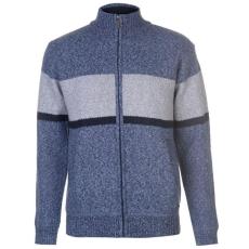 Pierre Cardin férfi kötött cipzáras pulóver - Pierre Cardin Full Zipped Bonded Stripe Cardigan Mens Blue