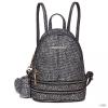 Miss Lulu London LT1763 BK - Miss Lulu GlitteGyűrű Ékszer divat kicsi hátizsák táska fekete