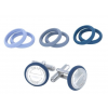DSE HIP-HOP Jewels - szilikon-nemesacél mandzsettagomb  - 4 szín egyben! - kék