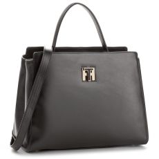 Tommy Hilfiger Táska TOMMY HILFIGER - Th Twist Leather Med Tote AW0AW05261 002