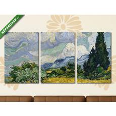 Képáruház.hu Vincent Van Gogh: Búzamező ciprusokkal(125x60 cm, L02 Többrészes Vászonkép)