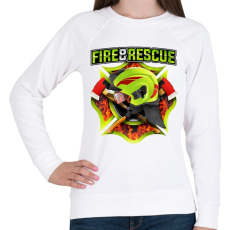 PRINTFASHION Fire and Rescue - Női pulóver - Fehér