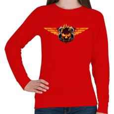 PRINTFASHION Flaming skull - Női pulóver - Piros