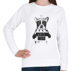 PRINTFASHION Winter is boring - Női pulóver - Fehér