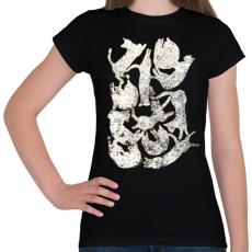 PRINTFASHION Sleeping cat - Női póló - Fekete
