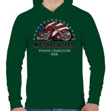 PRINTFASHION Büszke hagyomány - Férfi kapucnis pulóver - Sötétzöld