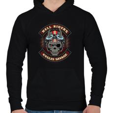 PRINTFASHION Pokoli motoros - Férfi kapucnis pulóver - Fekete