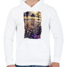 PRINTFASHION Álomvilág - Férfi kapucnis pulóver - Fehér