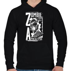 PRINTFASHION Zombi apokalipszis - Férfi kapucnis pulóver - Fekete